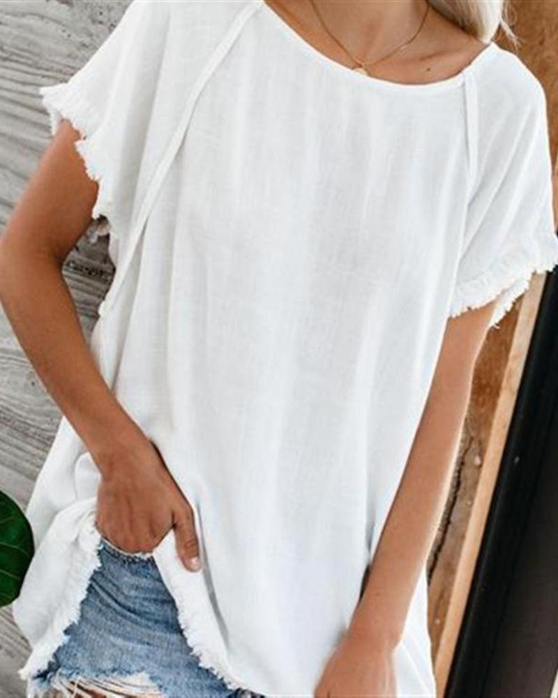 Round Neck Solid Short Sleeve Casual Fshion T-shirt