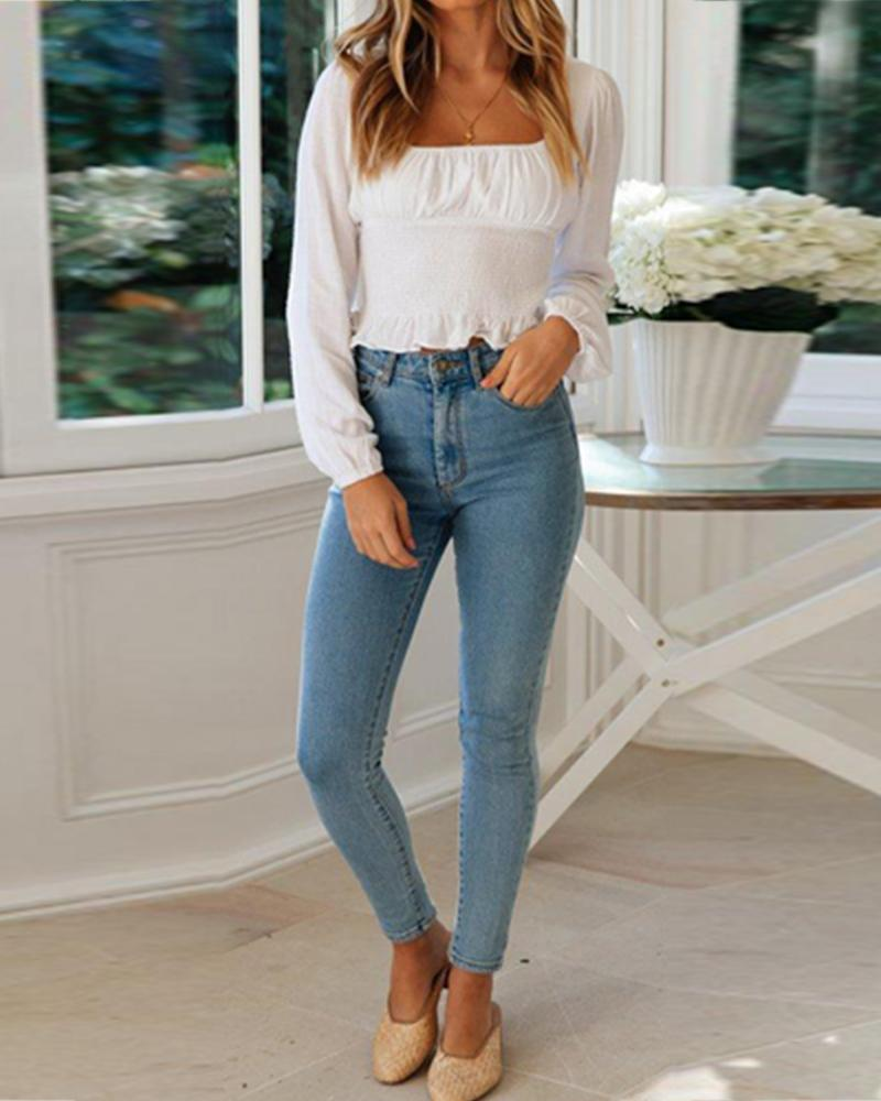 Square Neckline Long Balloon Sleeves Tops