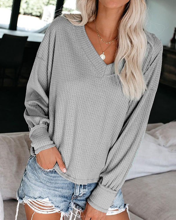 Solid Long Sleeve V-Neck Casual Blouse