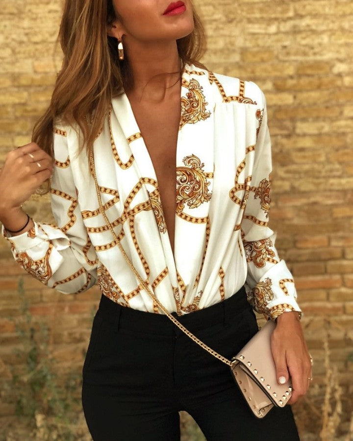 Plunge Chain Print Long Sleeve Shirt
