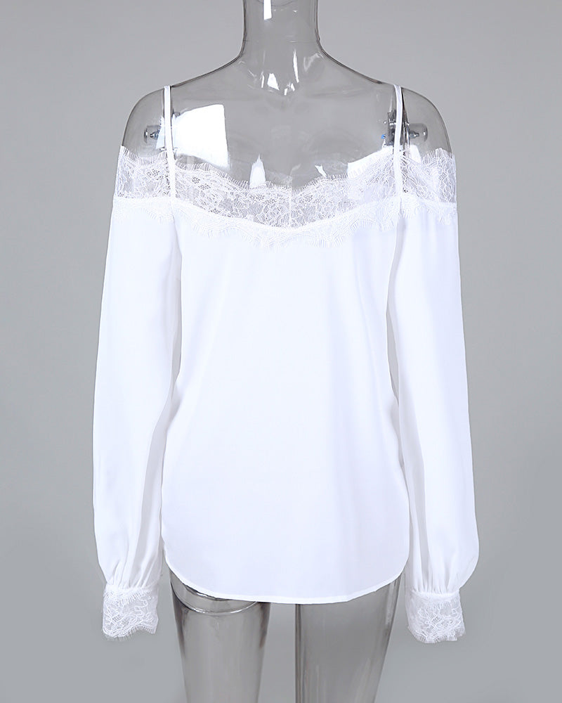 Cold Shoulder Lace Splicing chiffon blouses