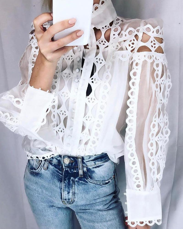 Solid Hollow Out Trim Casual Blouse