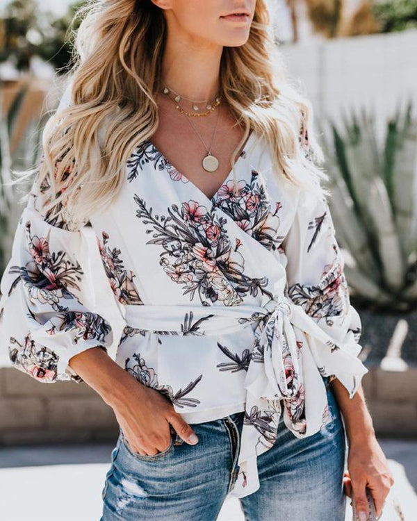 Printed Lantern Sleeve Shirt