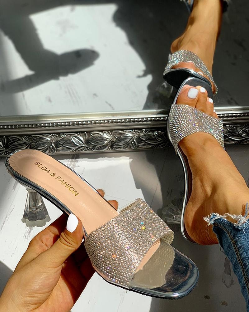 Glitter Studded Open Toe Thin Heels
