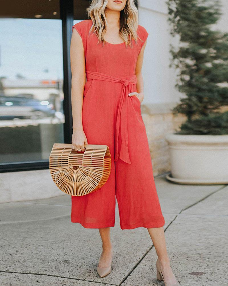 Solid Sleeveless Casual Fashion Jumpsuit