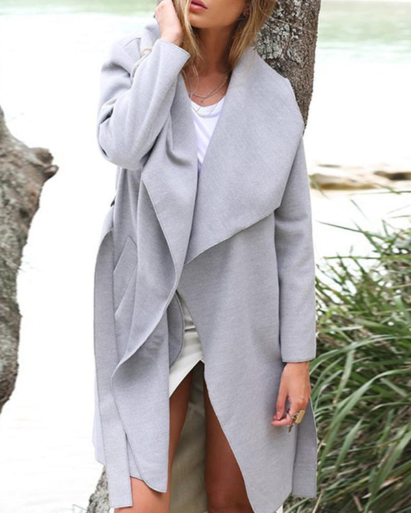 Oversized Open-Front Pocketed Coat