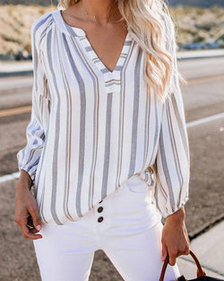 V-neck Long-sleeved Blouse