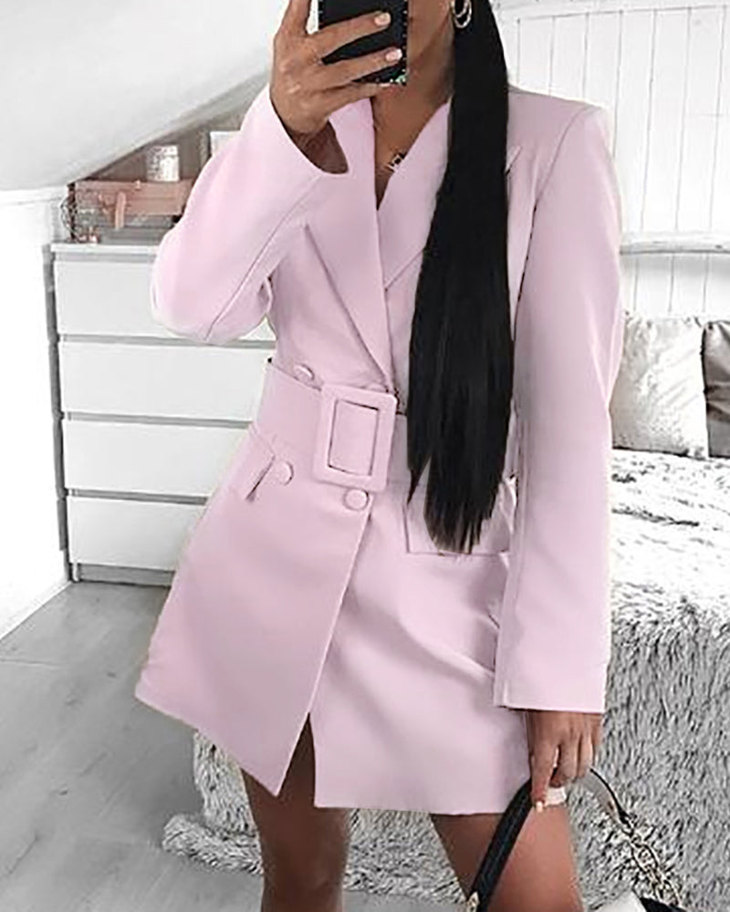 Solid Notched Collar Pocket Blazer Coat