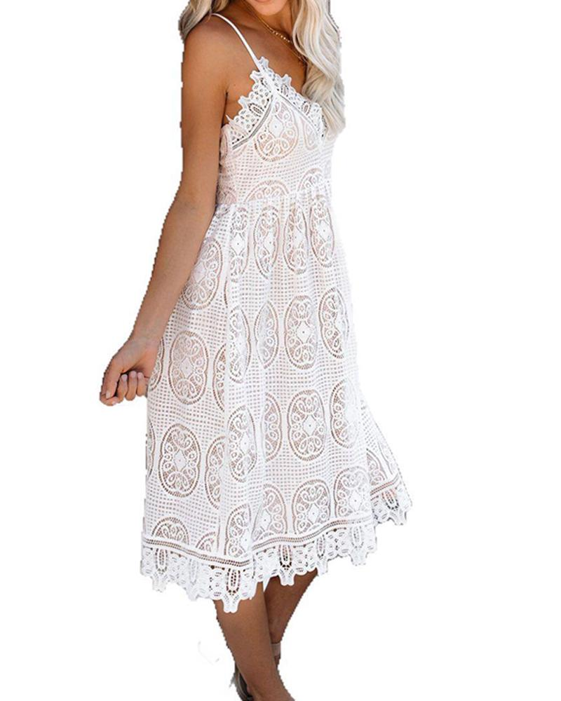 Women's Collage Lace Sleeveless V-neck Princess Dress