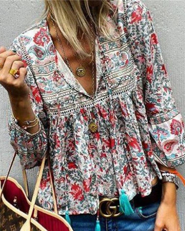 Boho Ethnic Printed Lace Lantern Long Sleeve Top