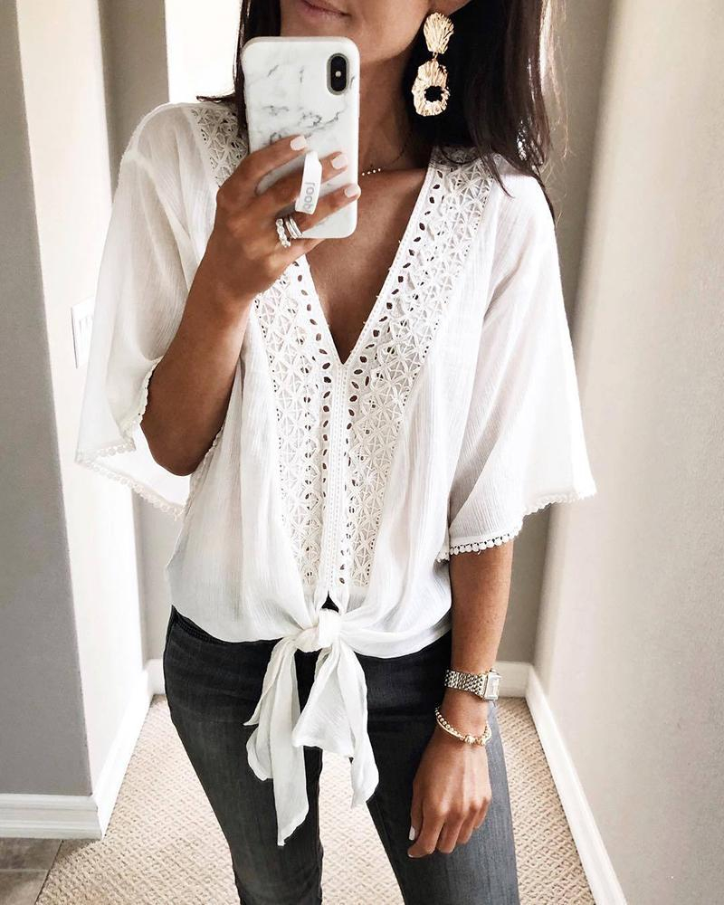V-Neck Hollow Out Knotted Casual Blouse