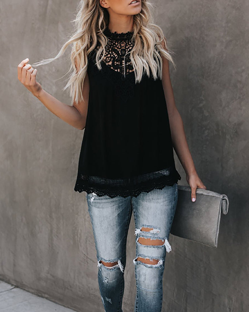 Lace Mock Neck Sleeveless Top