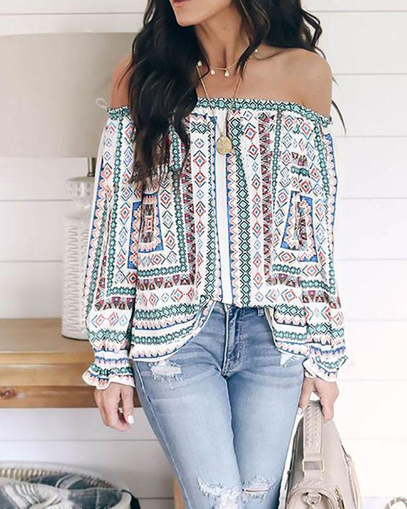 Ethnic Print Off Shoulder Long Sleeve Casual Blouse