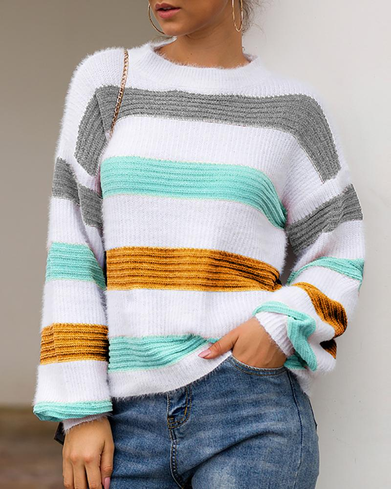 Colorblock Striped Long Sleeve Casual Sweater