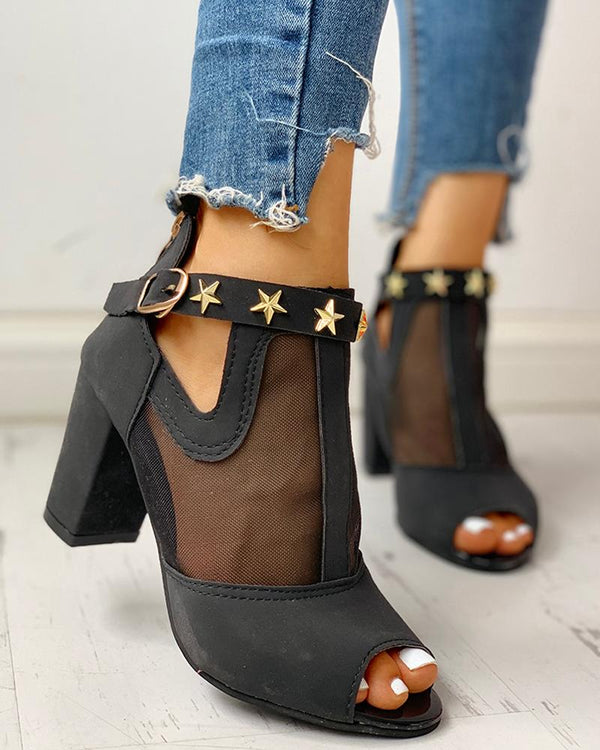Studded Mesh PU Splicing Peep Toe Chunky Heels