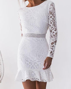 Lace Open Back Pep Hem Bodycon Dress