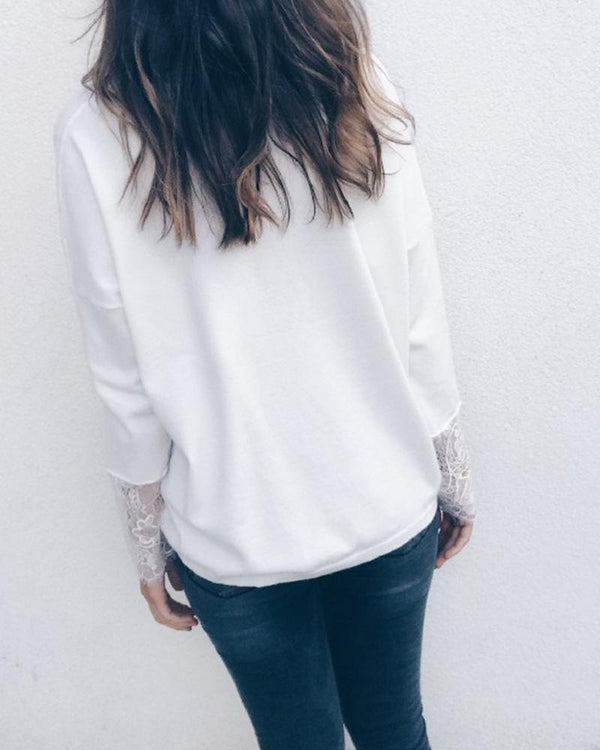 V-Neck Lace Detail Cuff Top