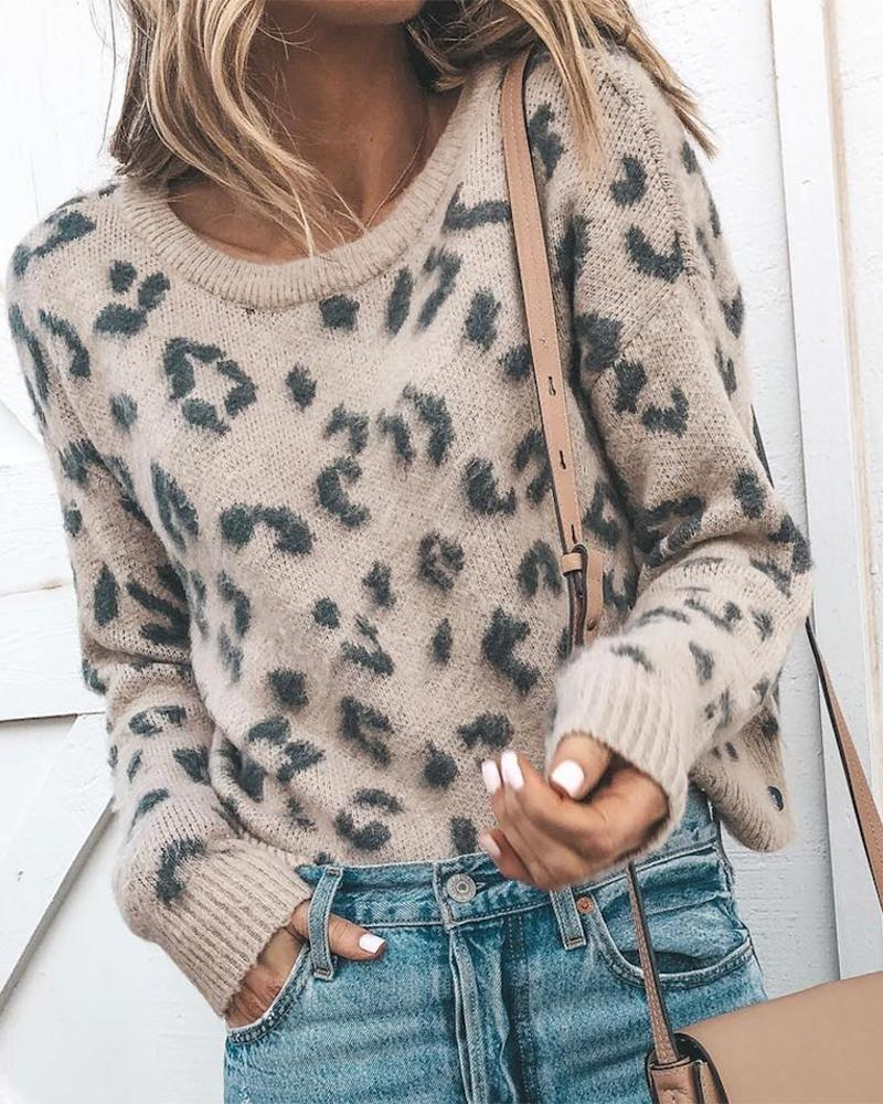 Leopard Print  Knitting Casual Sweater