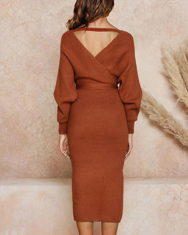 Ribbed Cut Out Backless Knotted Slit Dress