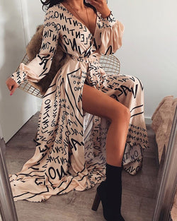 Letter Print V-Neck Thigh Slit Maxi Dress