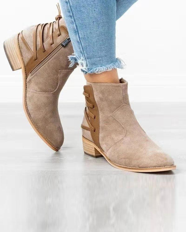 Suede Back Lace-Up Ankle Bootie