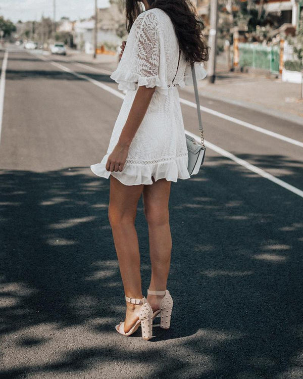 V-neck Lace Insert Half Sleeve Mini Dress