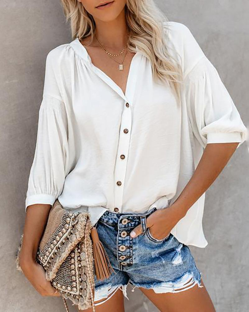 Brief V-neck Button Sleeve Top