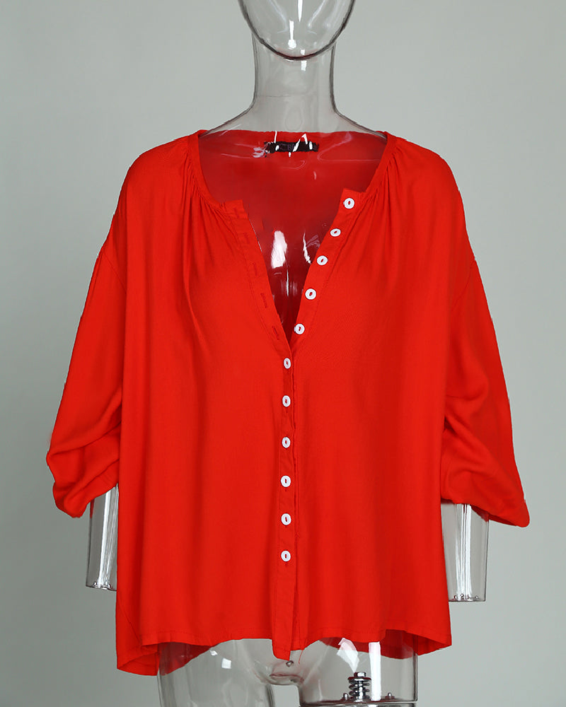 Solid Button Through Casual Blouse