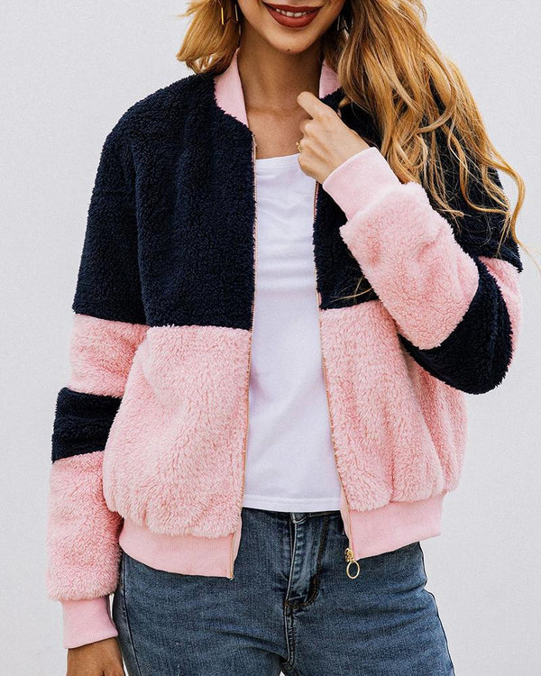Colorblock Zipped Long Sleeve Casual Coat