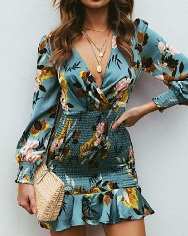 Floral Print Ruffles Shirring Design Dress