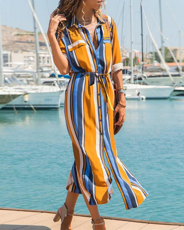 Striped button high waist ladies chiffon midi dress