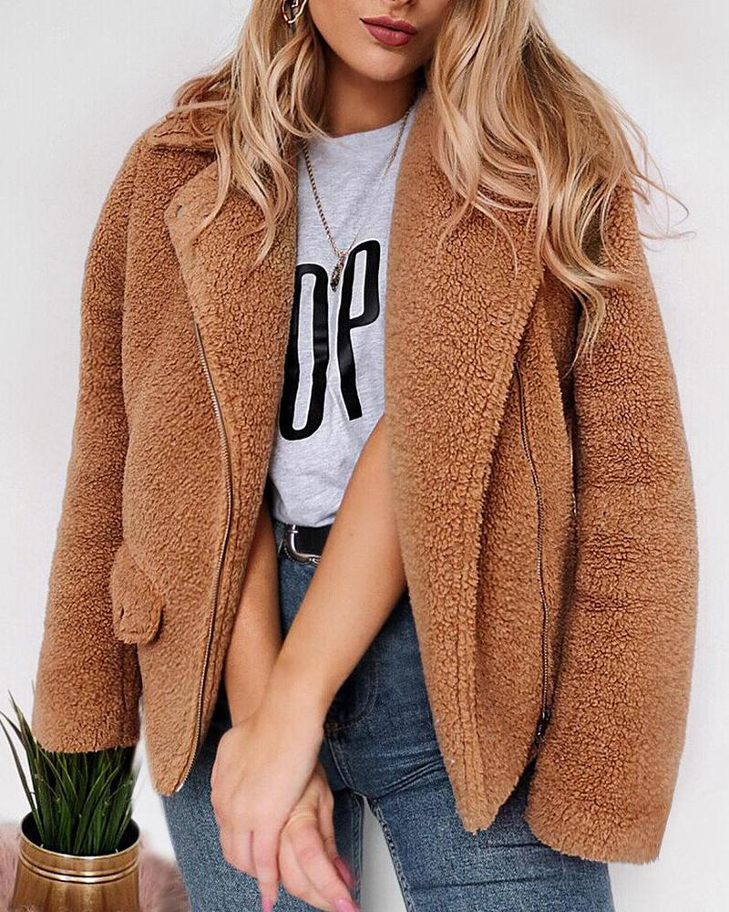 Faux Fur Zip Coat