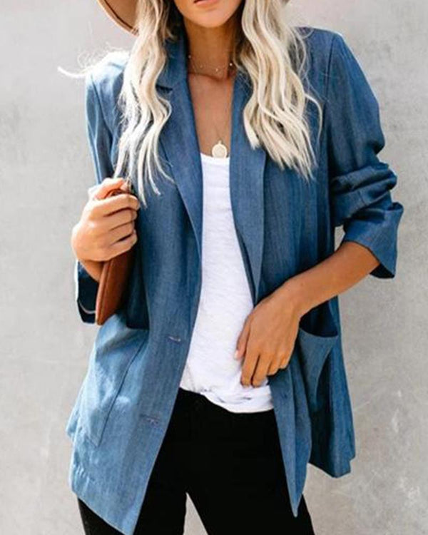 Turn-Down Collar Denim Jacket With Pocket
