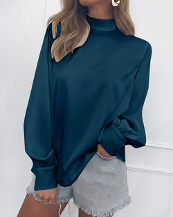 Loose High Neck Long Lantern Sleeve Blouse