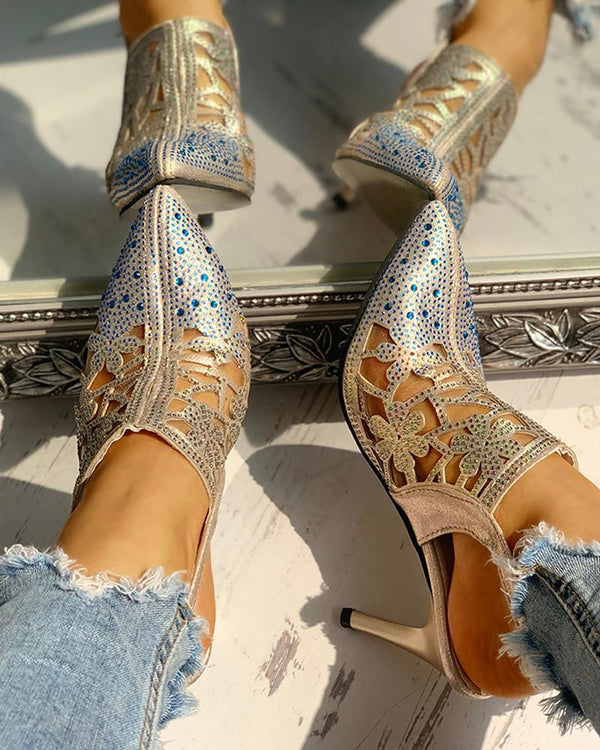 Studded Pointed Toe Hollow Out Ankle Buckled Heeled Sandals