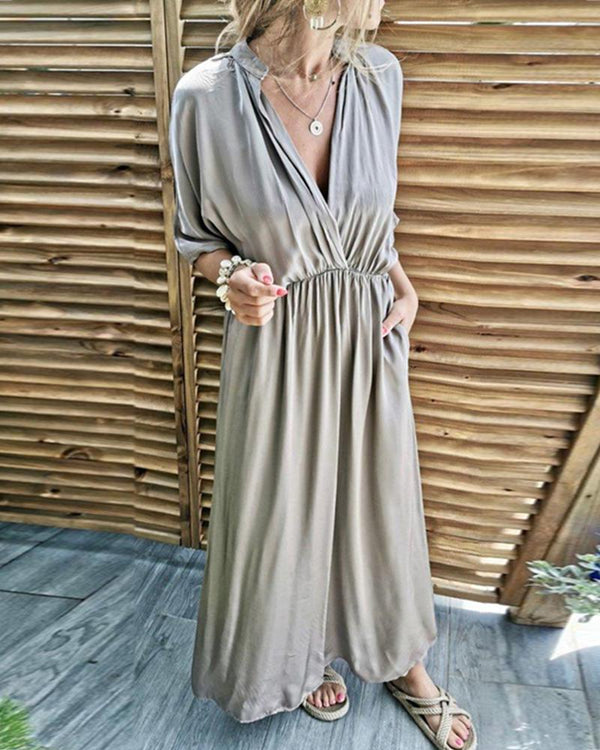 Bat Sleeve Deep V Pleated Casual Sleeve Maxi Dress