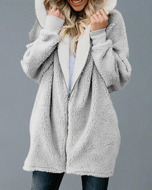 Hooded Zipper Design Long Sleeve Fluffy Coat