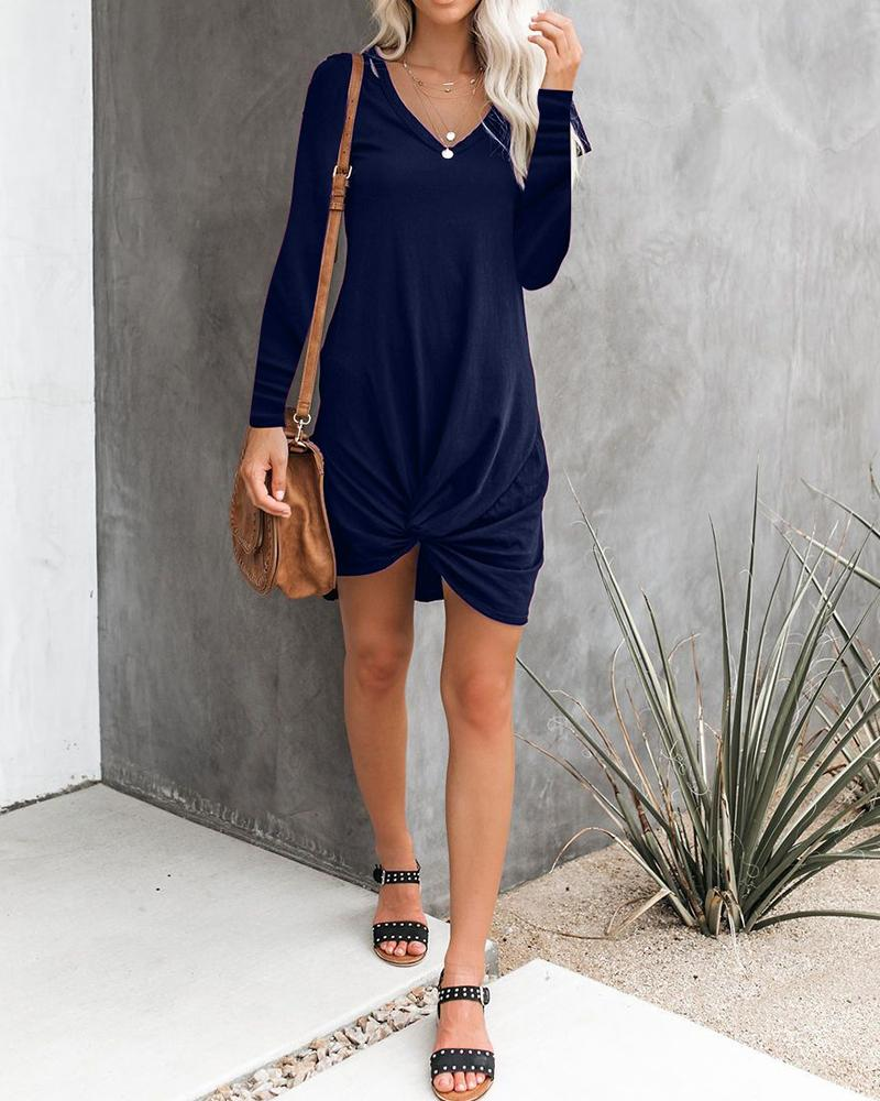 Solid Long Sleeve V Neck Tie Knot Henley Mini Dress