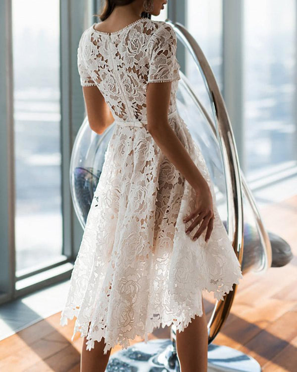 Short Sleeve Hollow Out  Floral Lace Dress