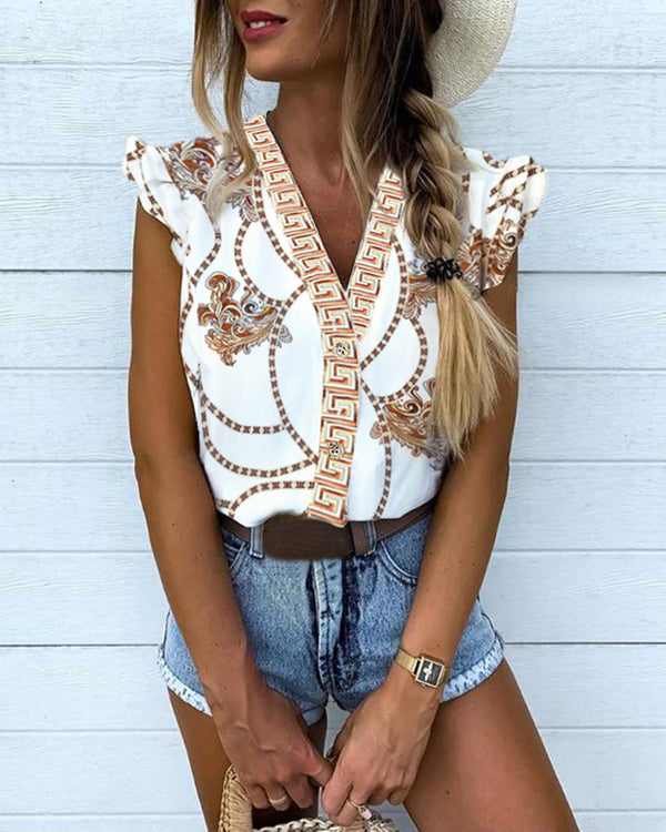 V-Neck Ethnic Print Flutter Sleeve Blouse