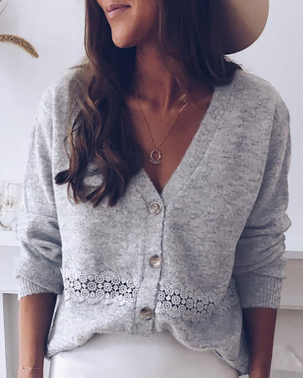 Solid Eyelet Hollow Out Single Breasted Sweater