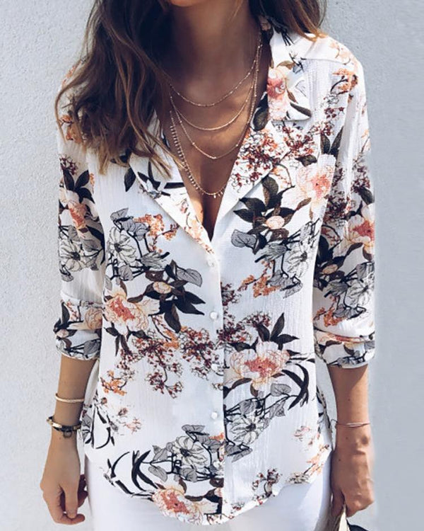 Floral Printed V-neck Long-sleeved One-breasted Lapel Shirt