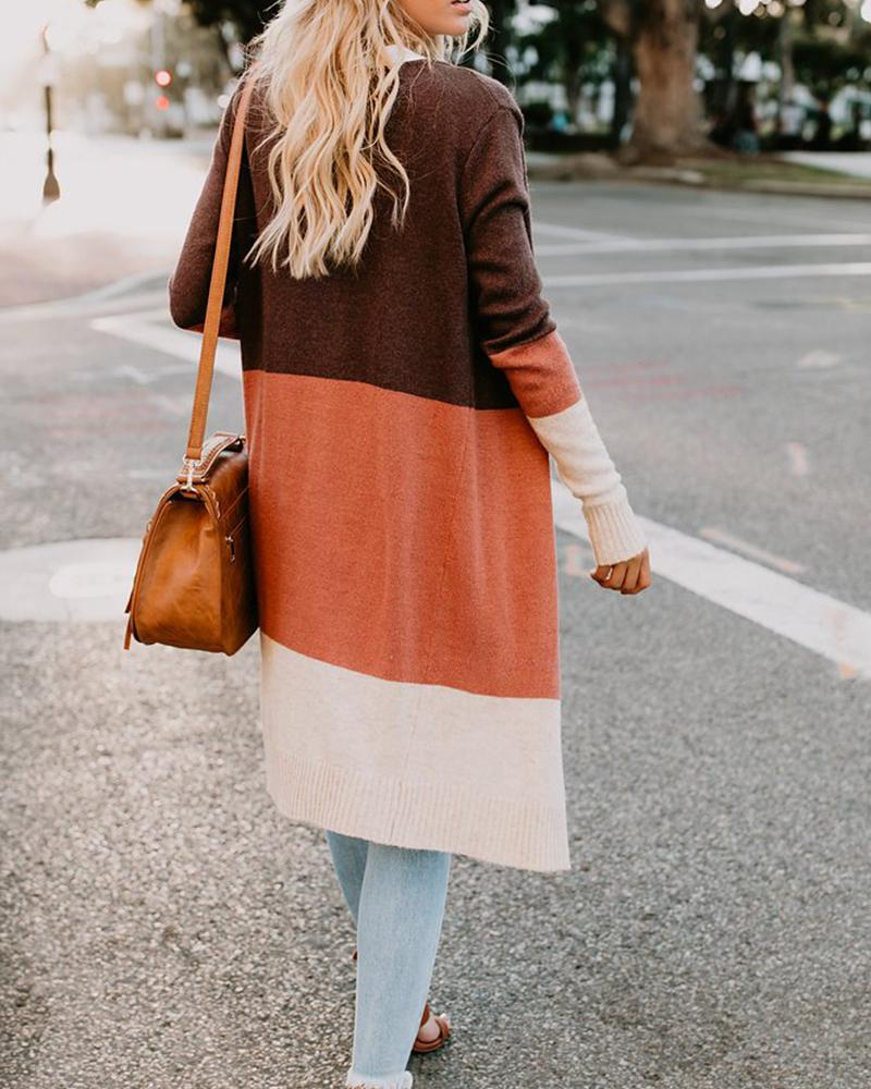 Color Block Striped Long Sleeve Front Open Cardigan