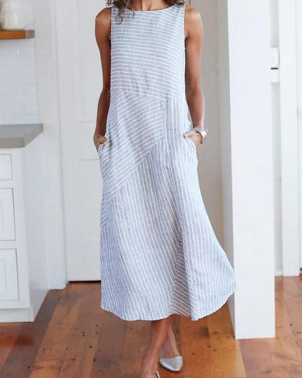 Striped Sleeveless Crew Neck Pocket Dress