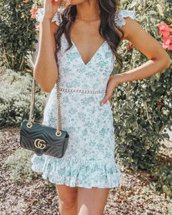 Floral Ruffle V Neck Sleeveless Mini Dress