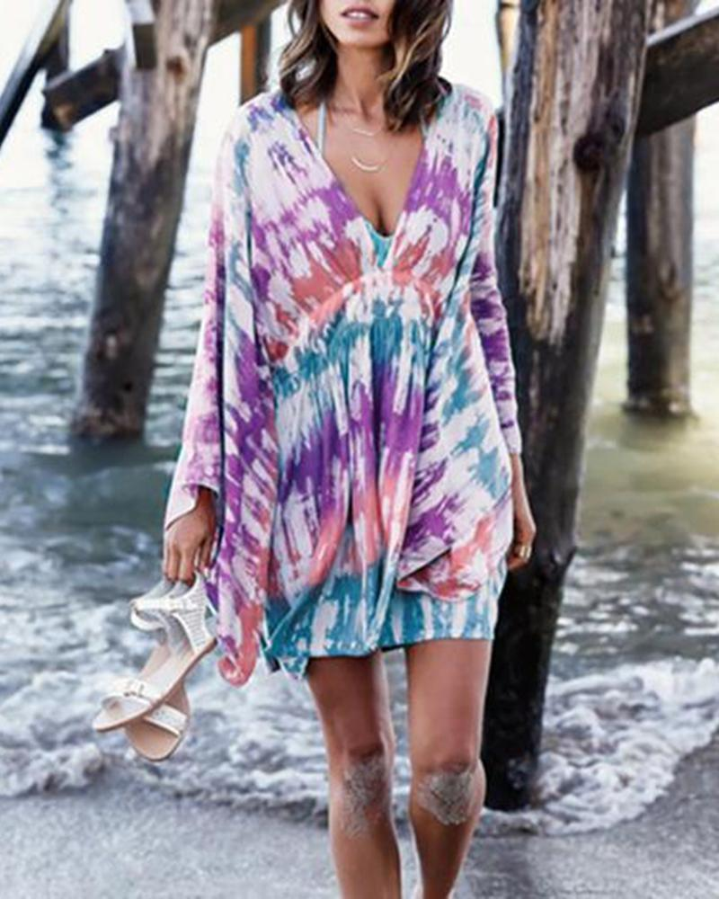 Smudged printed beach blouse, holiday wear