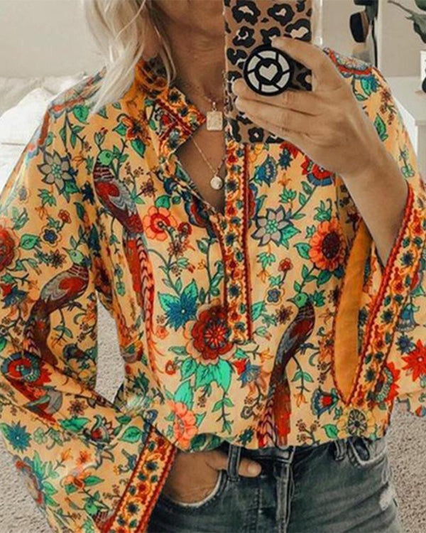 Long Sleeve Cotton-Blend Buttoned Floral-Print Shirts / Blouses