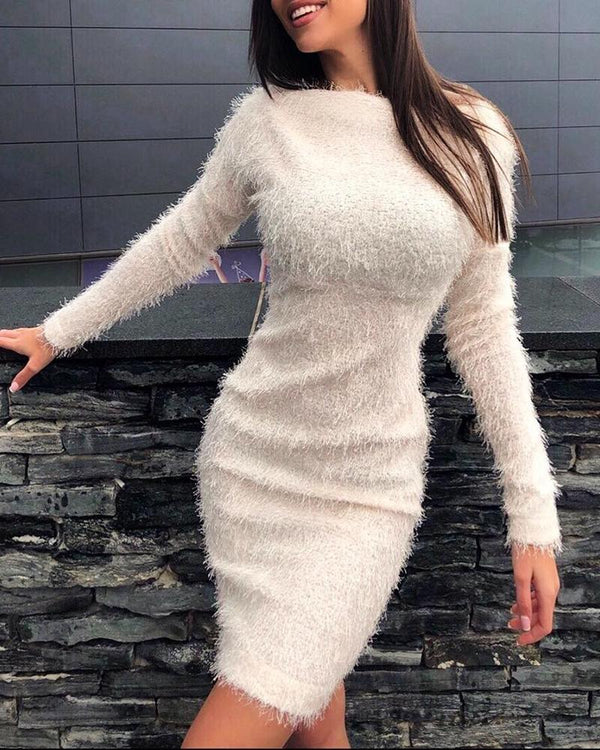 Fluffy Solid Long Sleeve Bodycon Dress