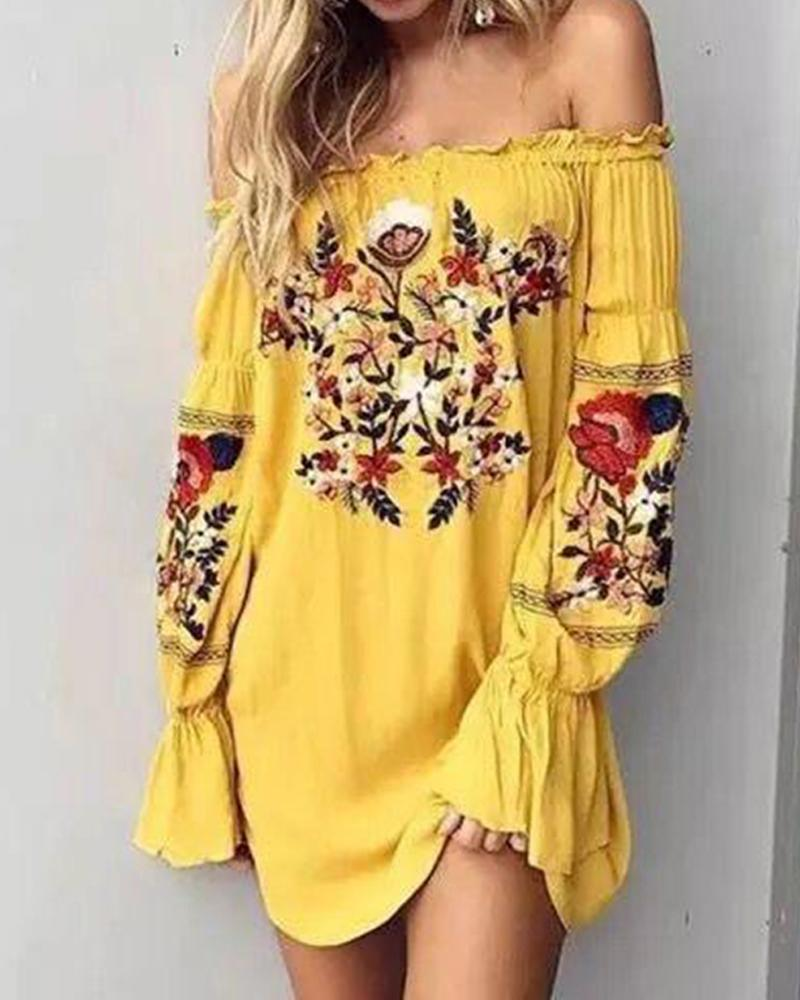 Off-shoulder Embroidery Ethnic Fluffy Sleeves Mini Dress