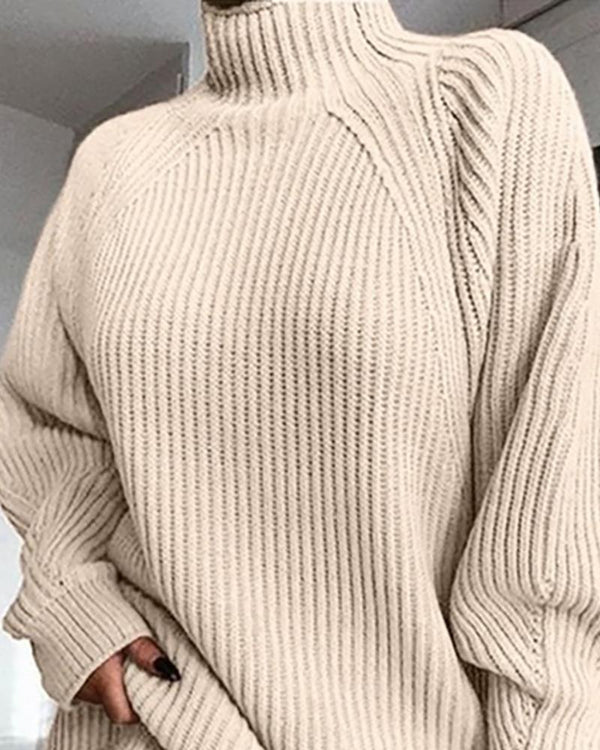 Solid High Neck Ribbed Knitting Sweater Dress